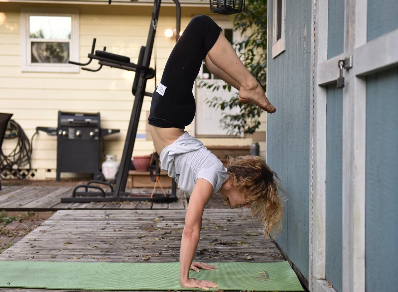 Courtney Bell Live Video Class Scorpion Pose